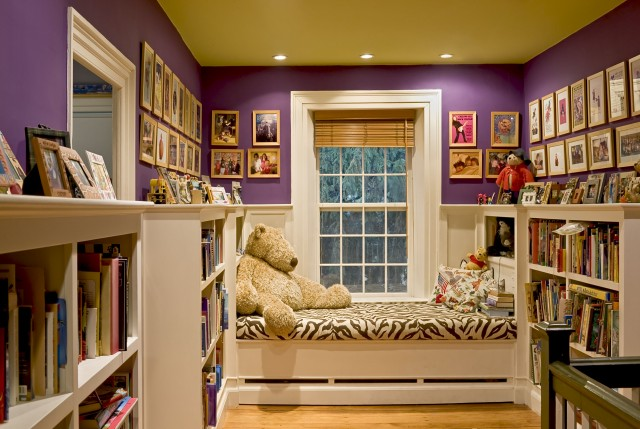 girl's rooms - yellow painted ceiling purple walls white built-in bed zebra bedding white built-in bookcases  Smith &amp; Vansant Architects  Fun
