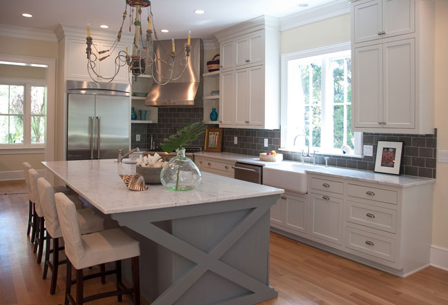 X Kitchen Island - Transitional - kitchen - Jenny Keenan Interior