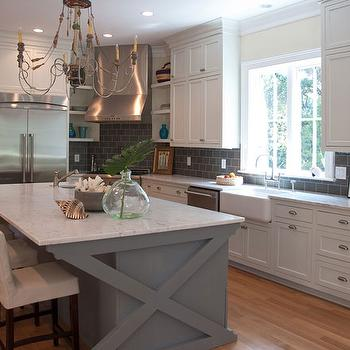 Jenny Keenan Interior Design - kitchens - ikea cabinets, ikea kitchen cabinets, gray kitchen island, x base kitchen island, gray x base kitchen island, gray subway tiles, gray subway tiled backsplash, gray kitchen backsplash, gray backsplash,