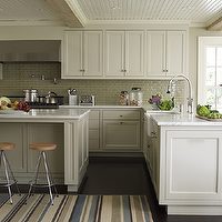 Marshall Watson Interiors - kitchens - beadboard ceiling, pot filler, beadboard ceiling, beadboard kitchen ceiling, kitchen beadboard ceiling, striped rug, light gray cabinets, light gray kitchen cabinets, kitchen peninsula,