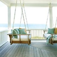 porches - wraparound, porch, swinging, sofas, blue, yellow, pillows,  Pinterest  Large wraparound porch with swinging sofas with white cushions