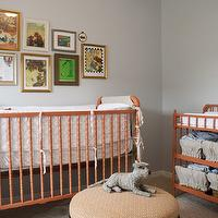 Alice Lane Home - nurseries - blue, walls, orange, jenny Lind, crib, changing table, round, orange, geometric, ottoman, eclectic, art gallery, grey and orange nursery, grey and orange nursery design, orange and gray nursery, orange and gray nursery design,