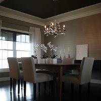Spectrum Design Group - dining rooms - gray, grasscloth, wallpaper, chocolate brown, painted, tray ceiling, white, sheers, dining table, gray, linen, parsons, dining chairs, orchids,