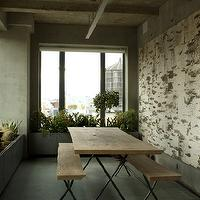 Jarlath Mellett - porches - concrete, neutral, table and benches, planter boxes,  Love the indoor/outdoor quality of this.