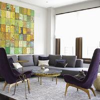 Jarlath Mellett - living rooms - bright and airy, sectional sofa, gray and purple room, gray and purple living room, purple and gray room, purple and gray living room, purple chairs, purple accent chairs, gray sectional, gray sectional sofa,
