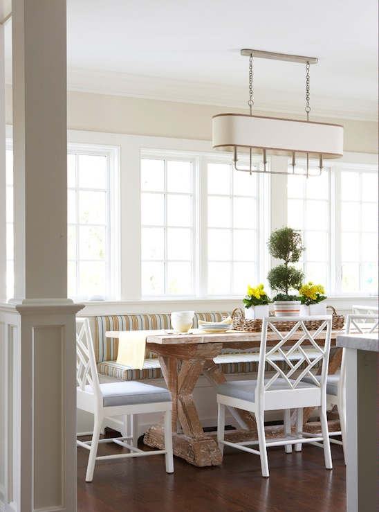 Striped banquette cottage dining room muse interiors for Dining room banquette