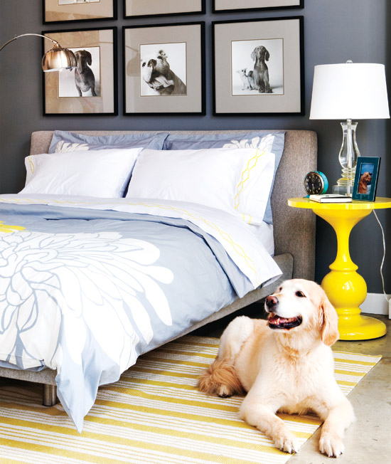 Blue Yellow Gray Bedroom Contemporary Bedroom Style At Home