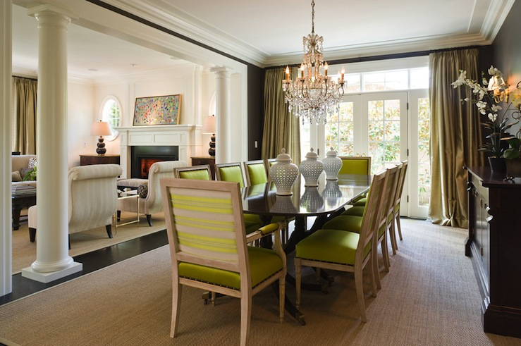 Chartreuse chairs transitional dining room graciela for Interior decoration of small dining room
