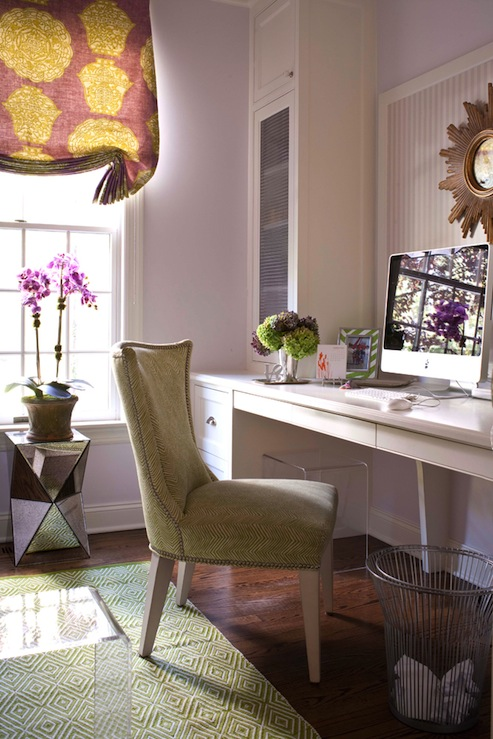 Suzie:  Muse interiors  Pretty lilac purple office design with lilac walls paint color, purple &amp; ...