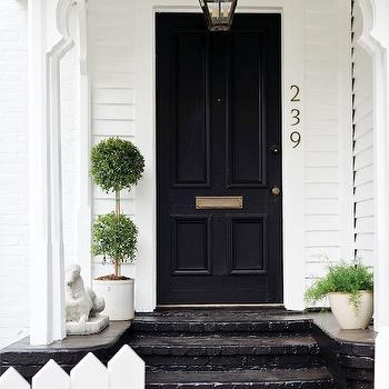Atlanta Homes & Lifestyles - home exteriors - black door, black front door, white house with black door, white house with black front door,