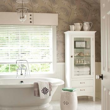 Muse Interiors - bathrooms - glass font linen cabinet, bathroom wallpaper, wallpaper in bathroom, beadboard in bathroom, bathroom beadboard, beadboard walls, bathroom valance, soaking tub, bell jar pendant, Dash and Albert Rugs Tufted Circle Fret Rug,