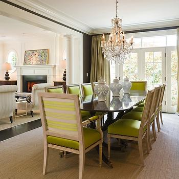 Graciela Rutkowski Interiors - dining rooms: chartreuse chairs, chartreuse dining chairs, green dining chairs, indoor columns, interior columns,