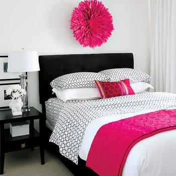 Style at Home - bedrooms - pink juju hat, hot pink juju hat, black and pink bedroom, black headboard, hot pink throw, hot pink throw blanket, black and white bedding, black nightstand, Kerrisdale Design Inc,
