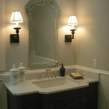 Classic Casual Home - bathrooms - apothecary jars, venetian mirror, espresso bathroom vanity, calcutta marble counter top, gray walls,  Chic,