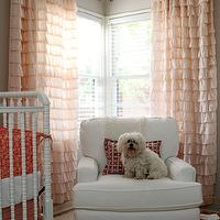 Apartment Therapy - nurseries - ruffle drapes, pink drapes, pink curtains, ruffled curtains, pink ruffled drapes, pink ruffled curtains, gray walls, pink and gray nursery, ikea chandelier, white crib, jenny lind crib, white jenny lind crib, Urban Outfitters Waterfall Ruffle Curtains,