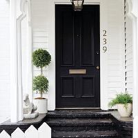 Atlanta Homes & Lifestyles - home exteriors - black, door, black, lanterns, black, painted, stairs,  Jimmy Stanton - Beautiful home exterior