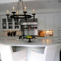 Classic Casual Home - kitchens - beadboard ceiling, white, shaker, kitchen cabinets, gray, kitchen island, iron, chandelier, calcutta gold, marble, countertops, white, canvas, slipcovered, counter stools, slipcovered counter stools, slipcovered bar stools, slipcovered barstools, white counter stools, white slipcovered counter stools, white slipcovered bar stools, white slipcovered barstools,