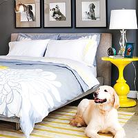 Style at Home - bedrooms - white, yellow, striped, rug, gray, linen, modern, platform, bed, blue, duvet, shams, glossy, yellow, pedestal, table, blue, walls, black & white, photo gallery, blue yellow gray bedroom, blue and yellow bedroom, blue and gray bedroom, blue and yellow bedroom,