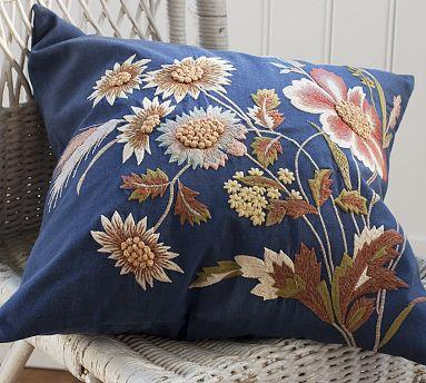 Blue Throw Pillows Pottery Barn : Blue Floral Embroidered Pillow Cover - Pottery Barn