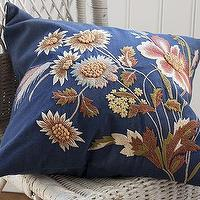Pillows - Blue Floral Embroidered Pillow Cover | Pottery Barn - blue, floral, pillow