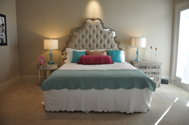 tufted mirrored headboard french bedroom