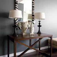 Beth Haley Design - entrances/foyers - zebra mirror, console table, wood console table, black table lamps,  Chic entrance foyer design with black