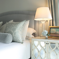 Ashley Goforth Design - bedrooms - gray, blue, walls, gray, blue, headboard, nailhead trim, gray, blue, silk, damask, pillows, gray, blue, velvet, bolster, pillow, white, matelasse, bedding, Oly Studio Elisabeth Bedside Table,