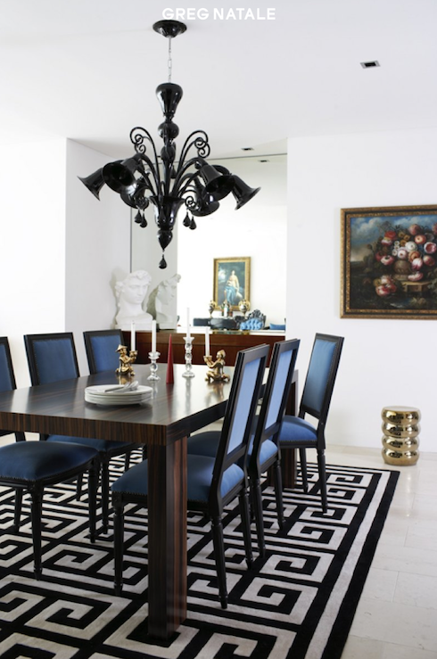 Greg Natale - dining rooms - Jonathan Adler Greek Key Rug, blue and black dining room, greek key rug, black and white rug, black and white greek key rug, blue dining chairs, square back dining chairs, blue and black chairs, french dining chairs,