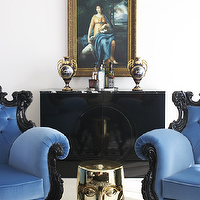 Greg Natale - living rooms - blue chair, blue velvet chair, baroque chairs, black baroque chairs, blue baroque chairs, black cabinet, high gloss cabinet, lacquered cabinet, black lacquer cabinets, black lacquered cabinet, greek key rug, black and white greek key rug,