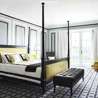 Greg Natale - bedrooms - black, yellow, poster bed, antique, mirrored, nightstands, black, tufted, bench, charcoal, gray, tufted, chair, yellow, stool, gray, walls, black, geometric, rug,