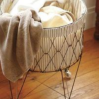 Bath - French Wire Hamper & Liner | Pottery Barn - french, wire, hamper