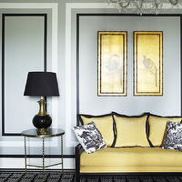 Greg Natale - living rooms - yellow sofa, yellow and gray living room, yellow and black sofa, glass and brass end tables, black lamp,  Chic black