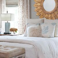 bedrooms - gold, sunburst, mirror, gray, walls, cherry, bed, linen, tufted, ottomans, bench, linen, roman shade, scroll, drapes, sunburst mirror, gold sunburst mirror,