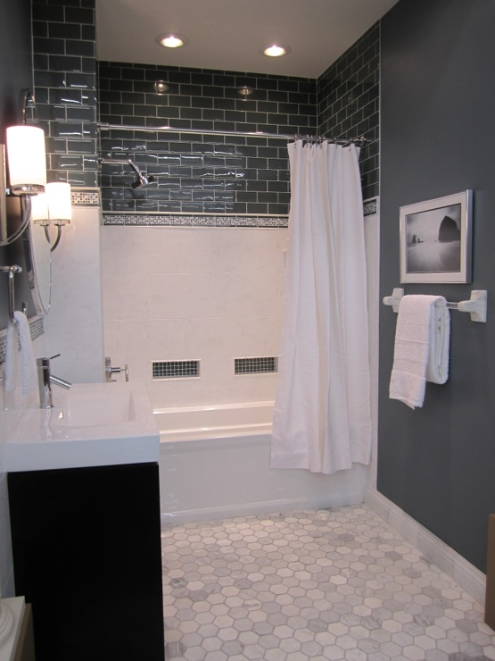 bathrooms - Sherwin Williams - Foggy Day - Vanity from Virtu USA, tile from the Tile Shop,  White and blue bathroom with marble floor