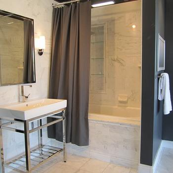 bathrooms - Marble tile from the Tile Shop Polished chrome accents from Restoration Hardware, gray shower curtain, modern washstand,  Kirsty