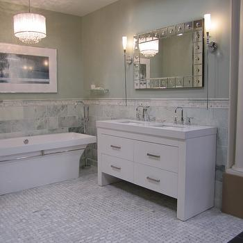 bathrooms - Waterfall vanity marble from the Tile Shop, carrara, green floor, green marble, green marble tiles, tumbled green marble tiles, Claremont Chandelier, Pier 1 Etched Dot Simone Mirror,