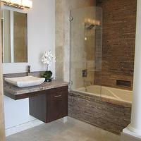 The Tile Shop - bathrooms: Tile from the Tile Shop, custom vanity, stone sink from the Tile Shop, floating vanity, floating bathroom vanity, modern floating vanity, modern floating bathroom vanity, floating cabinets, floating bathroom cabinets,
