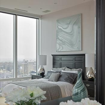 Marie Burgos Design - bedrooms - Benjamin Moore - raspberry ice - master bedroom, duplex, loft, peggy bates artwork, silver bedding, mirror, mercury lamps, purple gray paint color, purple gray walls, gray and purple paint color, gray and purple walls,