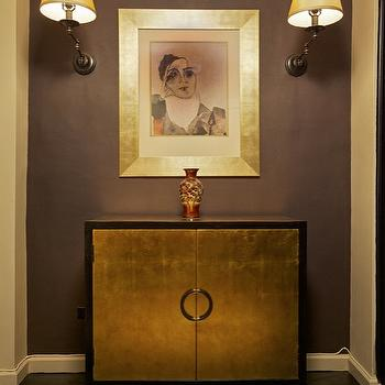 Marie Burgos Design - entrances/foyers - Gold credenza, wall sconces, artwork, picasso, black floors, purple gray paint color, purple gray walls, gray and purple paint color, gray and purple walls,