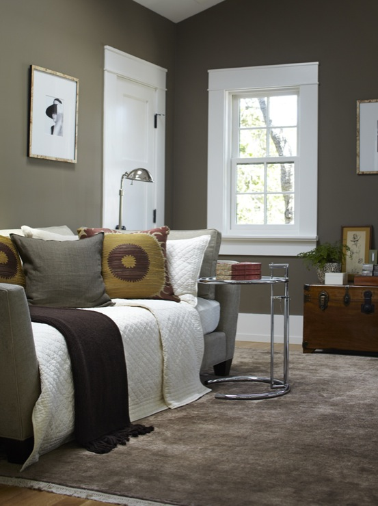 Urrutia Design - bedrooms - Benjamin Moore - Woodcliff Lake - Daybed, Color, French Window, French Windows, Silk Rug, Chinese Trunk, Office, Home Office, Den, Bedroom, Bedrooms, taupe paint, taupe paint colors, taupe paint color, taupe walls,