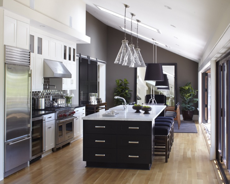 Kitchen vaulted ceiling skylight open kitchen large kitchen ...