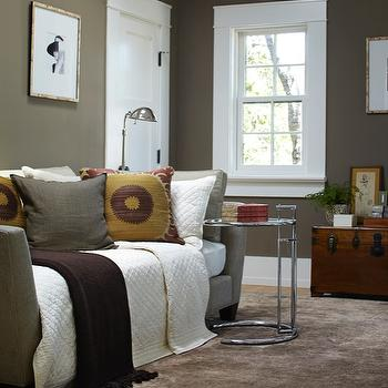 Urrutia Design - bedrooms - Daybed, Color, French Window, French Windows, Silk Rug, Chinese Trunk, Office, Home Office, Den, Bedroom, Bedrooms, taupe paint, taupe paint colors, taupe paint color, taupe walls,