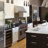 Urrutia Design - kitchens - Kitchen Family, Great Room, Wolf Range, Sub-Zero, Sub-Zero Refrigerator, Marvel Wine, Marvel Wine Cooler, Marvel, Sub Zero, Ventahood, Vent-a-Hood, Vent a Hood, Ceramic Brown Subway Tile, Appliances, Barn Door, Chrome Pulls, White Marble, Black Granite, Carrera, Color, Oak Floor, Black Cabinets, White Cabinets, Open Kitchen, Large Kitchen, Kitchen Family Room, Contemporary Kitchen, Modern Kitchen, Kitchen Cabinets, Ranch House, Ranch Home, California Ranch, Kitchen, Traditional Kitchen, Ballard Designs Pendant,