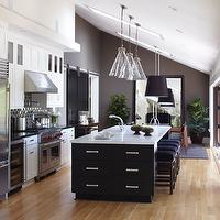 Urrutia Design - kitchens - Kitchen Family, Great Room, Island, Chrome Pulls, Chrome Knobs, Pendant, Bar Stool, Bar Stools, Oak Floor, Flooring, Appliance, Nana Doors, Barn Door, Floor Mirror, Black Cabinets, White Cabinets, White Carrera Marble, Black Granite, Brown Subway Tile, Farm House Kitchen, Vaulted Ceiling, Skylight, Open Kitchen, Large Kitchen, Kitchen Family Room, Contemporary Kitchen, Modern Kitchen, Kitchen Cabinets, Shaker Cabinets, Ranch House, Ranch Home, California Ranch, Traditional Kitchen, Kitchen, rolling door, wall mounted door, contemporary door, black door, black doors, Ballard Designs Pendant,