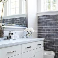 Urrutia Design - bathrooms - Bathroom, Bathrooms, Traditional Bathroom, Gray Subway Tile, Gray Tile, Grey Tile, Chrome Hardware, Mirror, Vanity, Toilet, Chrome Sconce, Bathroom Sconce, Restoration Hardware Nolan Sconce, Orchid, White Carrera Marble, White Carrara Marble, Carrera Counter, Carrara Counter, Vignette, Bathroom Vignette, Perfume Tray, Kohler Toilet, Memoirs Toilet, Vanity, Shaker Cabinets, Shaker Cabinetry, French Window, French Windows, Rohl, Waterworks, Lefroy Brooks, Traditional Bathroom, California Ranch, gray subway tile backsplash, gray subway tile, gray subway tile bathroom, gray subway tile backsplash, gray subway tile bathroom,