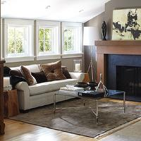 Urrutia Design - living rooms - Living Room, Living Rooms, Fireplace, Slate, Reclaimed Redwood, Clear Heart Redwood, Vertical Grain Redwood, Bar, Window, Modern Urban Farm House, Vaulted Ceiling, Brazilian Black Slate, Williams Sonoma Cocktail Table Coffee Table, Williams Sonoma Table, French Window, French Windows, Ranch House, Ranch Home, California Ranch, taupe paint, taupe paint colors, taupe paint color, taupe walls, , Williams Sonoma Home Cocktail Table,