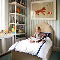 boy's rooms - Liz Caan, striped walls, upholstered headboard, bookshelves, carpet,  Via Liz Caan Interiors