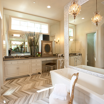 Marble Herringbone Bathroom Floor, Transitional, bathroom, Dodson and Daughter Interior Design