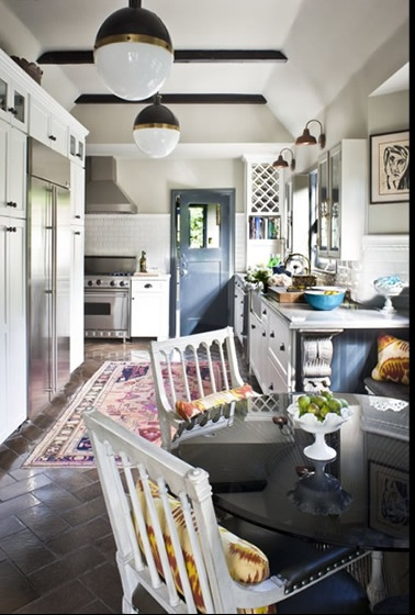 Zoldan Interiors - kitchens - exposed wood beams, white, kitchen, cabinets,  Chic eclectic eat-in kitchen design with exposed wood beams, Thomas