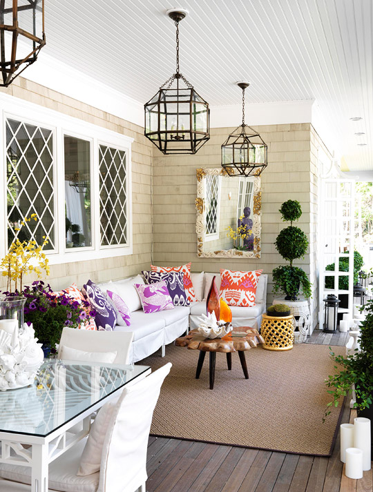 Traditional Home - decks/patios - Suzanne Kasler Morris Lantern, Quadrille Kazak Fabric, Quadrille Nomad Fabric, Cowtan & Tout Koy Fish Fabric, white, slipcovered, outdoor, sectional, sofa, purple, pink, red, pillows, orange, yellow, gunmetal, tribal, stool, white, rope, garden stool, jute, rug, iron, glass, geometric, lanterns,